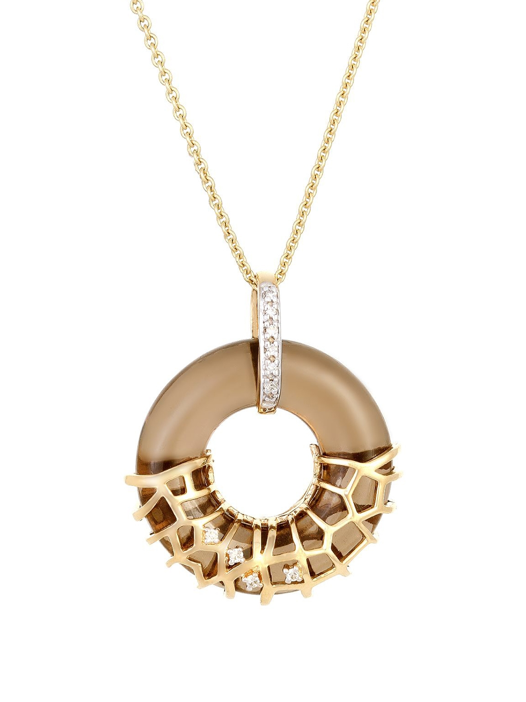 Mia by Tanishq 14KT Gold Precious Pendant with Diamonds   Quartz