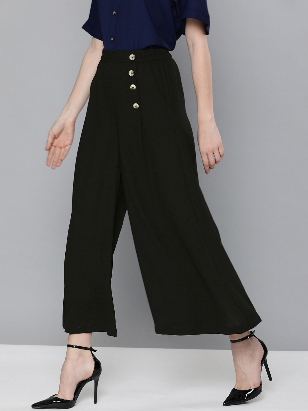 Chemistry Women Black Flared Solid Parallel Trousers
