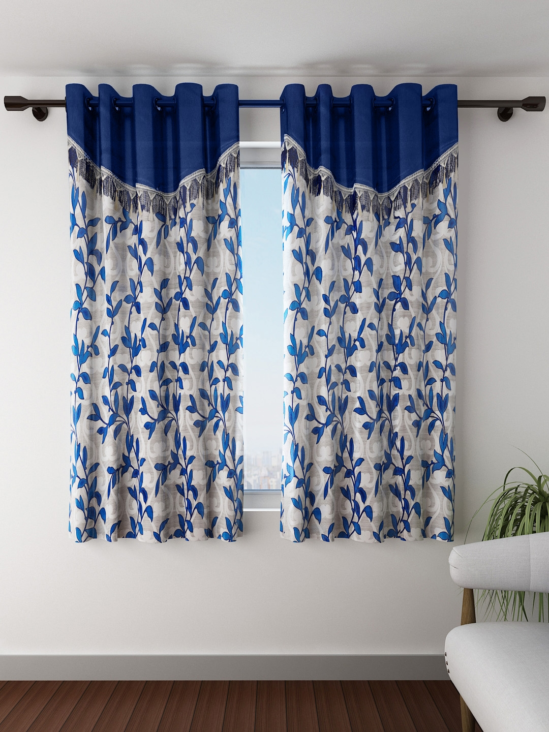 Fashion String Set of 2 Blue Printed Window Curtains