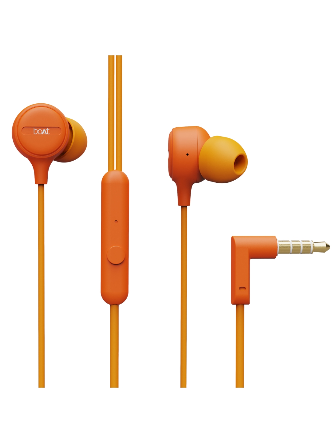 boAt Unisex Orange Bassheads 103 M Wired Earphones With Super Extra Bass   In Line Mic