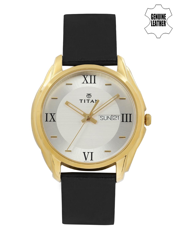 Titan Men Silver Toned   White Dial Watch NH1578YL04
