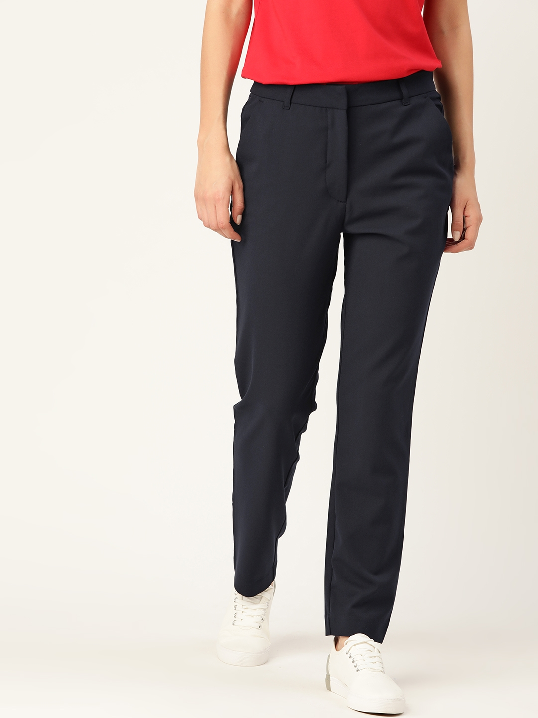 United Colors of Benetton Women Navy Blue Solid Cigarette Trousers