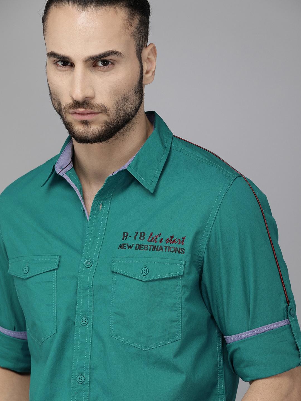 Roadster Men Teal Green Solid Casual Shirt