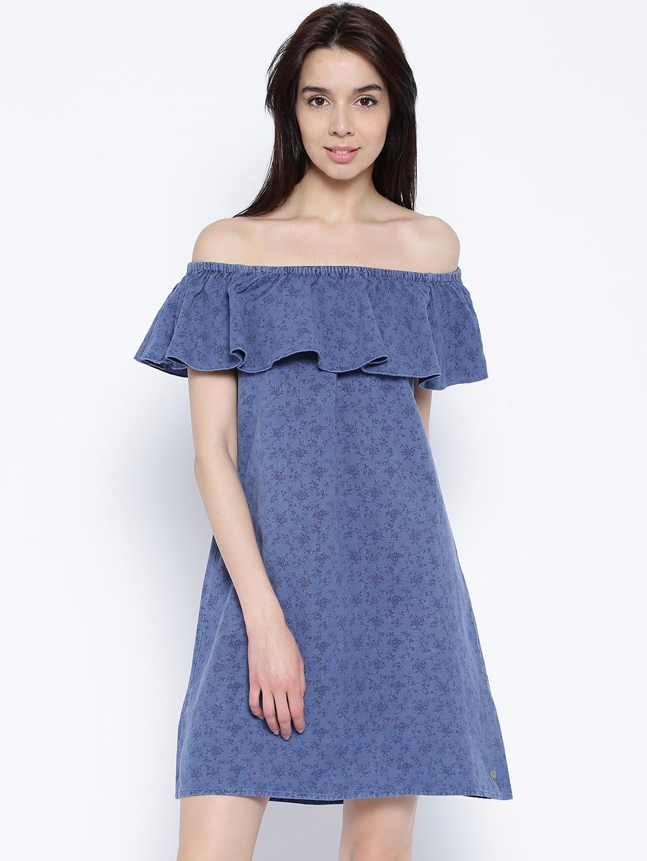 d6c7eef304694 Buy ONLY Blue Printed Denim Off Shoulder Dress - Dresses for Women ...