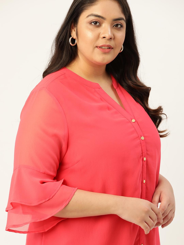 Sztori Plus Size Fuchsia Pink Solid Bell Sleeve Regular Top