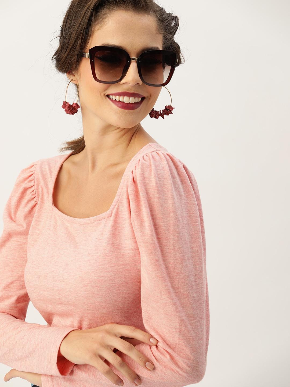 Faballey Pink Solid Regular Top