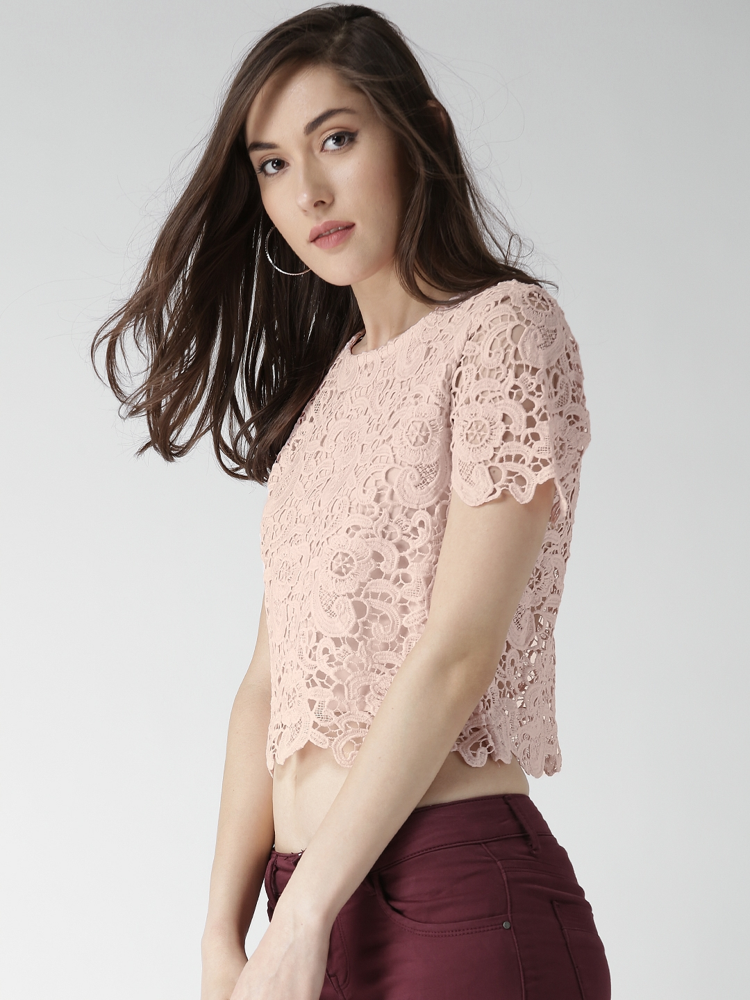 Buy Forever 21 Pink Polyester Crochet Top Tops For Women 1367667