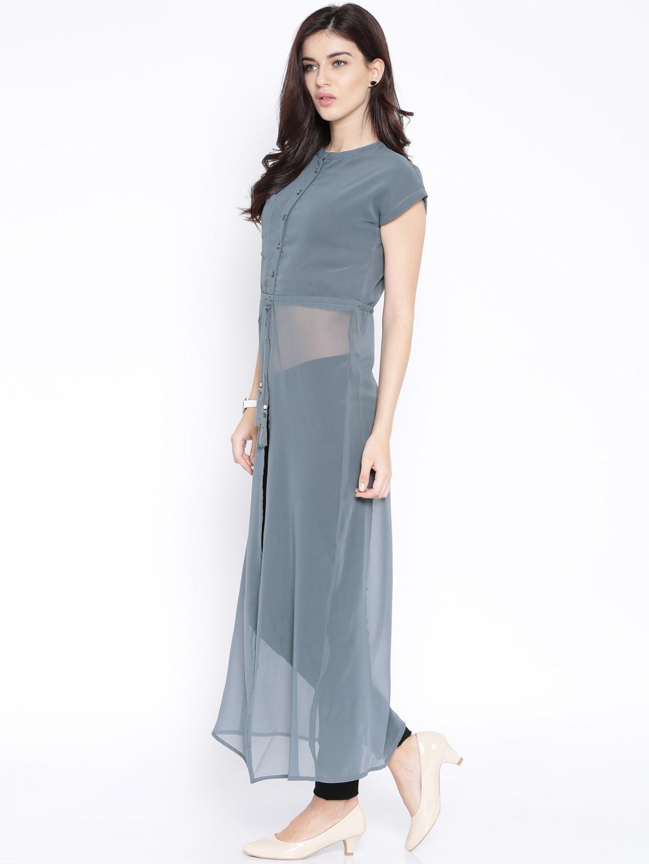 2700c77d608 Buy Folklore Grey Semi Sheer Polyester Maxi Top - Tops for Women ...