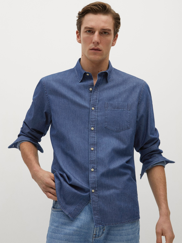 MANGO MAN Men Blue Regular Fit Solid Denim Sustainable Casual Shirt