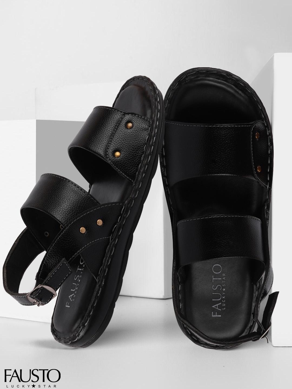 FAUSTO Men Black Outdoor Comfort Sandals