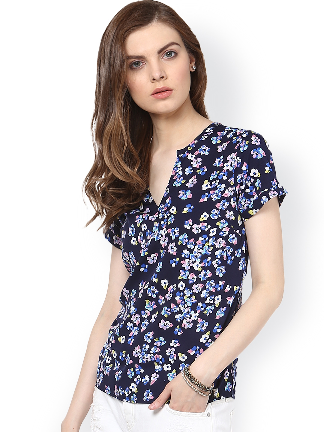 bf7161ae00f5 Buy Harpa Navy Floral Print Top - Tops for Women 1371684 | Myntra