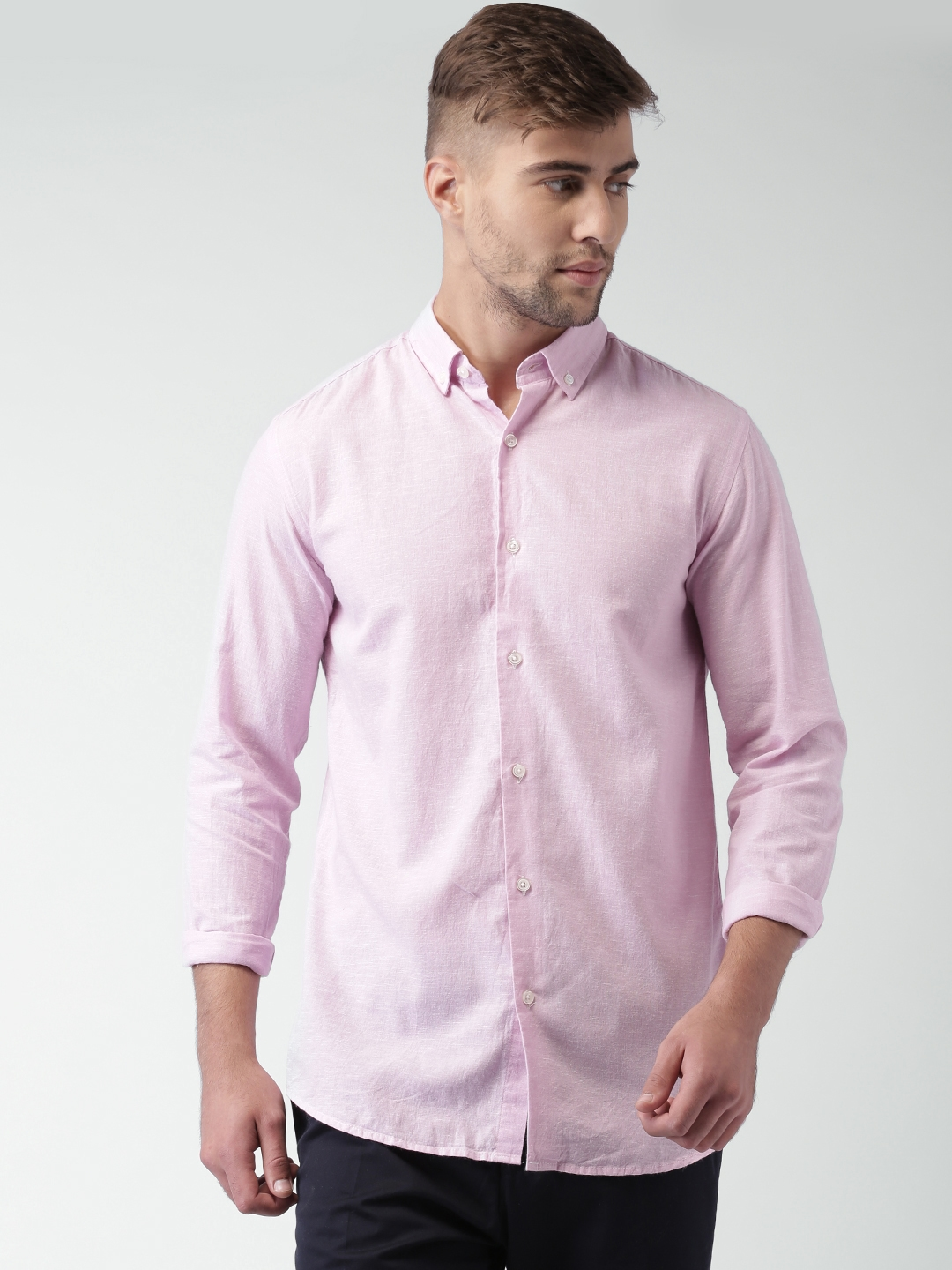 sale retailer f3a43 c91cb SELECTED Homme Identity Pink Linen Slim Fit Casual Shirt