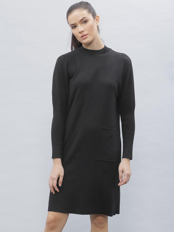 Buy Ether Women Black Solid Sweater Dress Dresses For Women