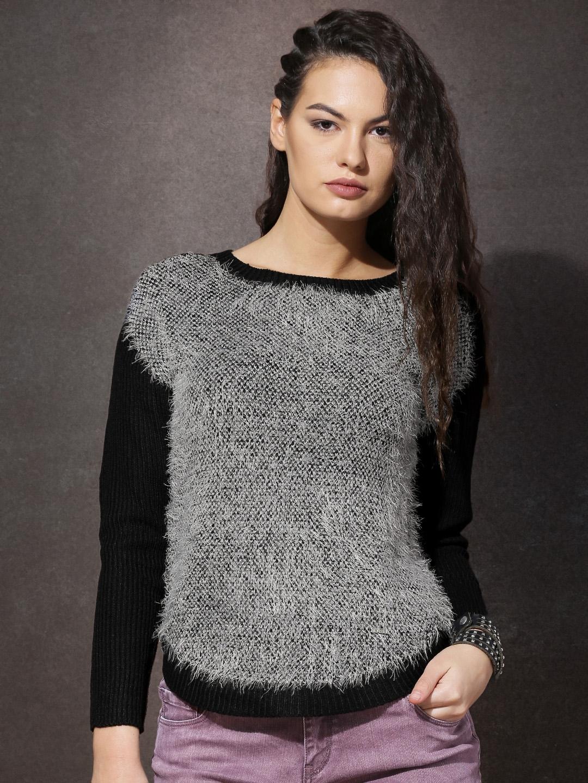 Buy Roadster Women Black & Grey Fuzzy Sweater - Sweaters for Women ...