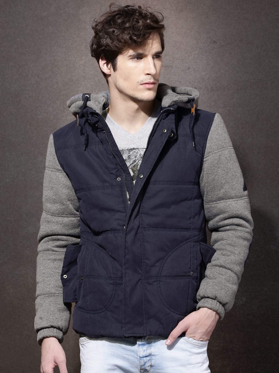 Buy Rdstr Navy Quilted Jacket With Detachable Hood Jackets For Men
