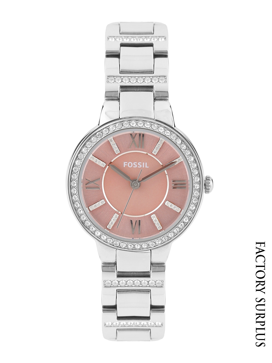 Get Upto 50% Off Fossil Women Pink Stone-Studded Dial Watch ES3504