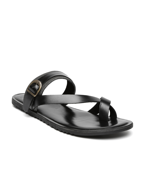 d848799a6b8 Buy Van Heusen Men Black Leather Sandals - Sandals for Men 1378677 ...