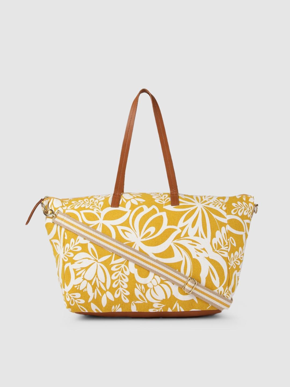 Accessorize Yellow   White Printed PERLA WEEKENDER Shoulder Bag