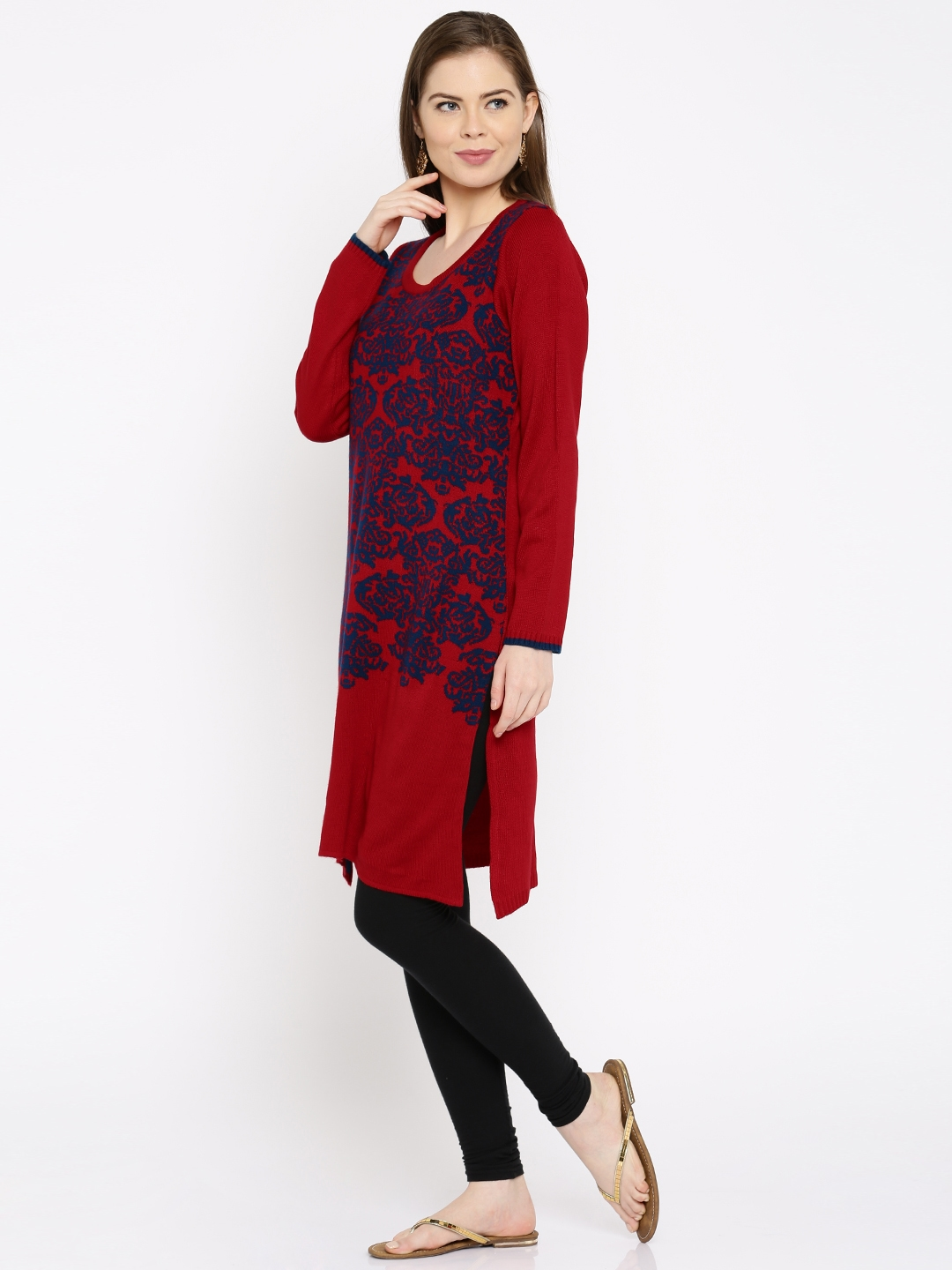 b4b529ec0ab Buy Anouk Women Red   Navy Patterned Winter Kurta - Kurtas for Women ...