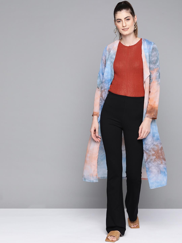 SASSAFRAS Women Blue   Peach Coloured Dyed Lapel Longline Shrug