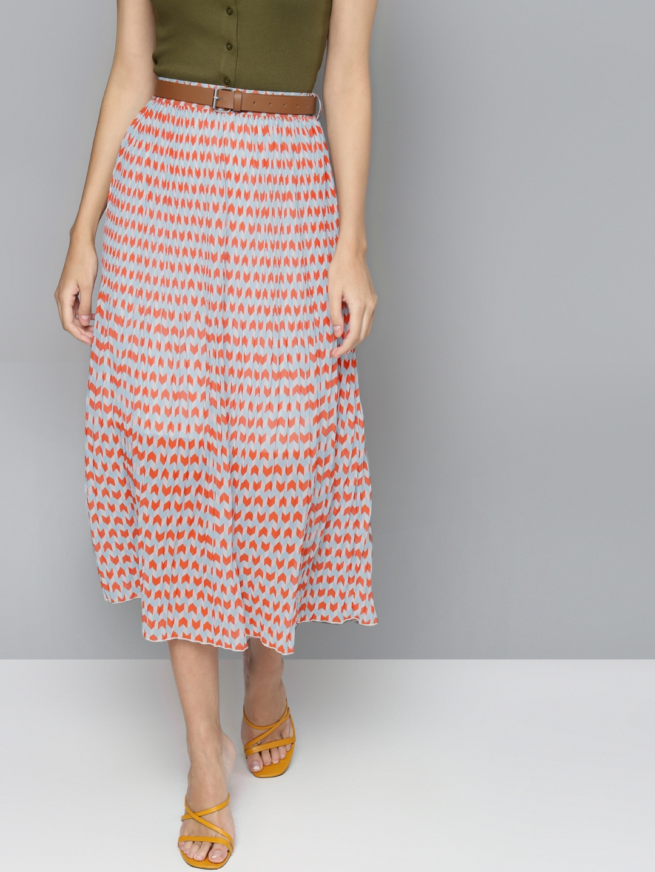 SASSAFRAS Women Orange   Blue Printed Accordion Pleated Flared Belted Skirt