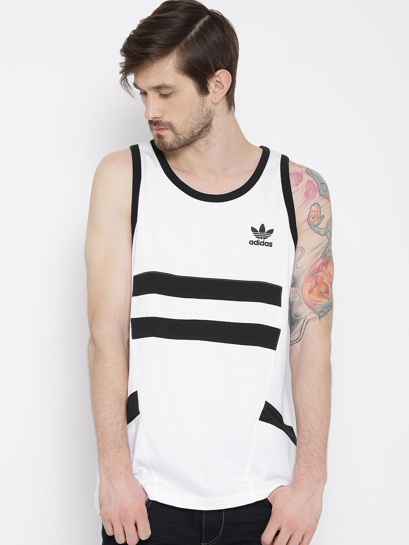 f2902747 Buy ADIDAS Originals White & Black Sleeveless T Shirt - Tshirts for ...