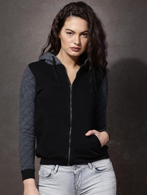 Buy Roadster Black Hooded Sweatshirt - Sweatshirts for Women 1384580 ... afb8ebc46881