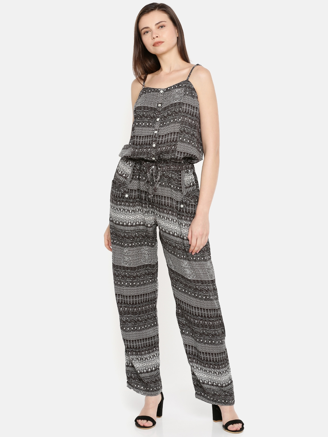 7f52196fa73 Buy BIBA Black   White Printed Jumpsuit - Jumpsuit for Women 1384612 ...