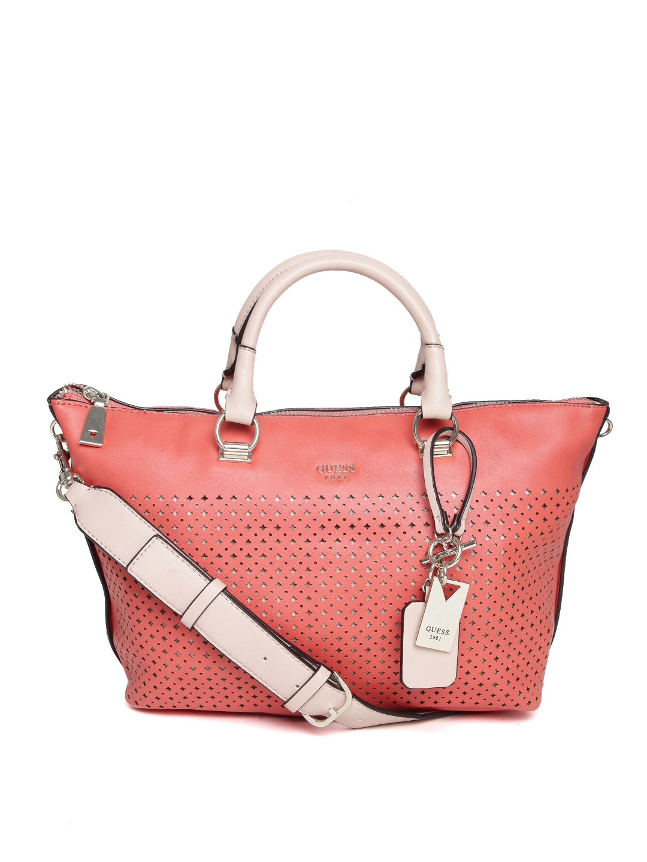 c7f4a88f9baf Buy GUESS Coral Orange Cut Out Handbag With Sling Strap - Handbags ...