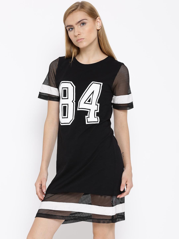 30a7303504b Buy Vero Moda Black Printed Mesh Detail Jersey Dress - Dresses for ...