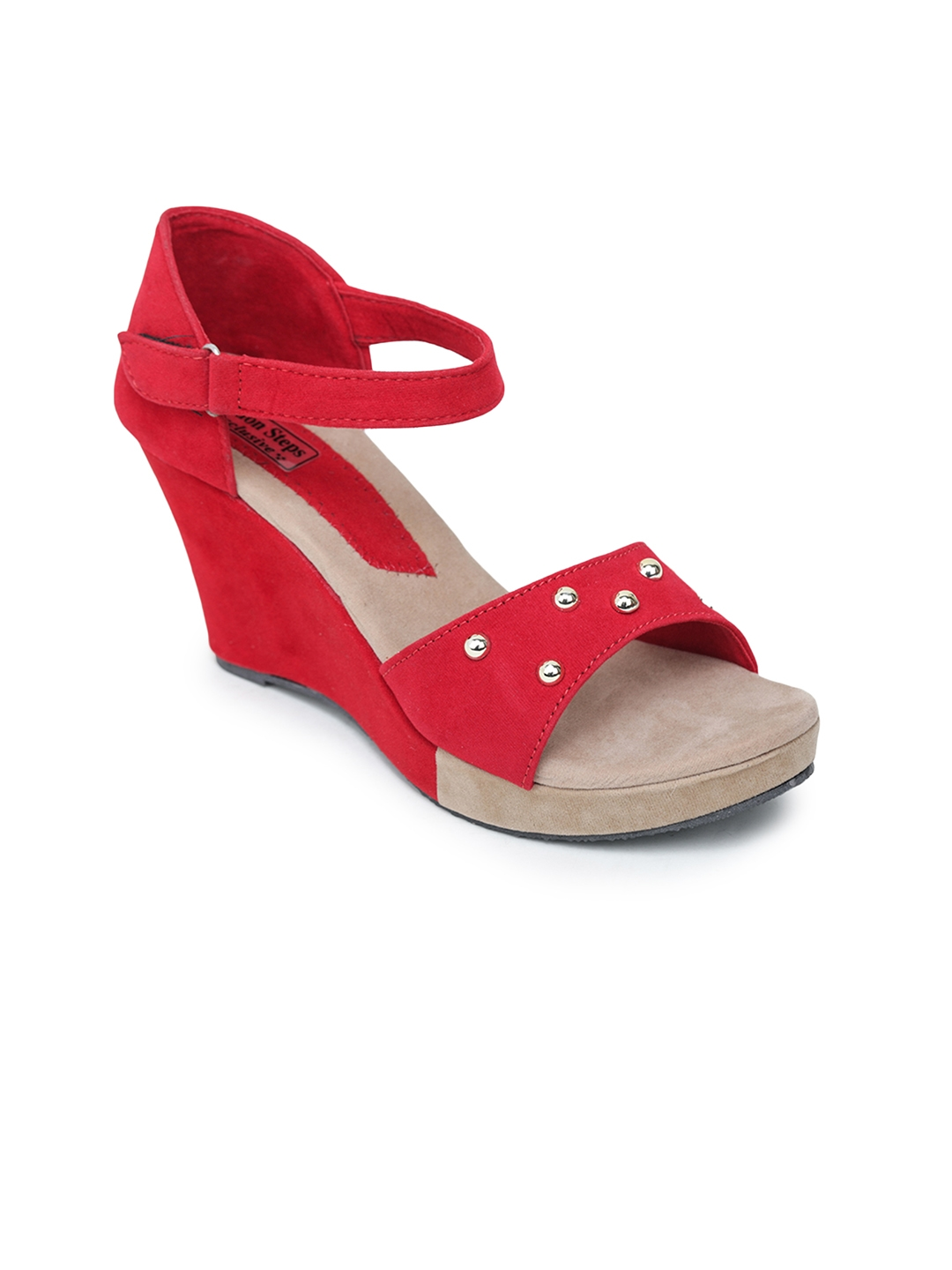 LONDON STEPS Women Red Embellished Wedges
