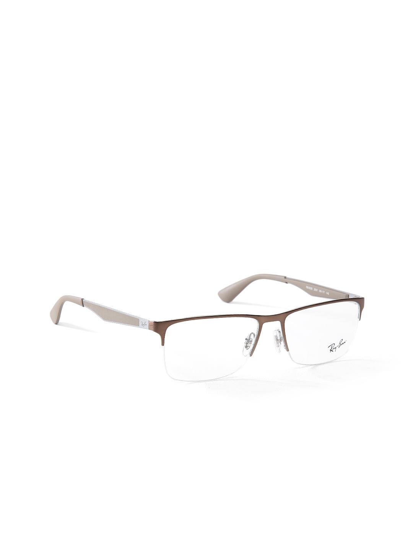 b2c796503e Buy Ray Ban Men Brown Half Rim Rectangular Frames 0RX6335253156 ...