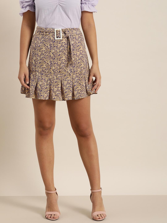 Moda Rapido Women Brown   Purple Printed A Line Pleated Mini Skirt