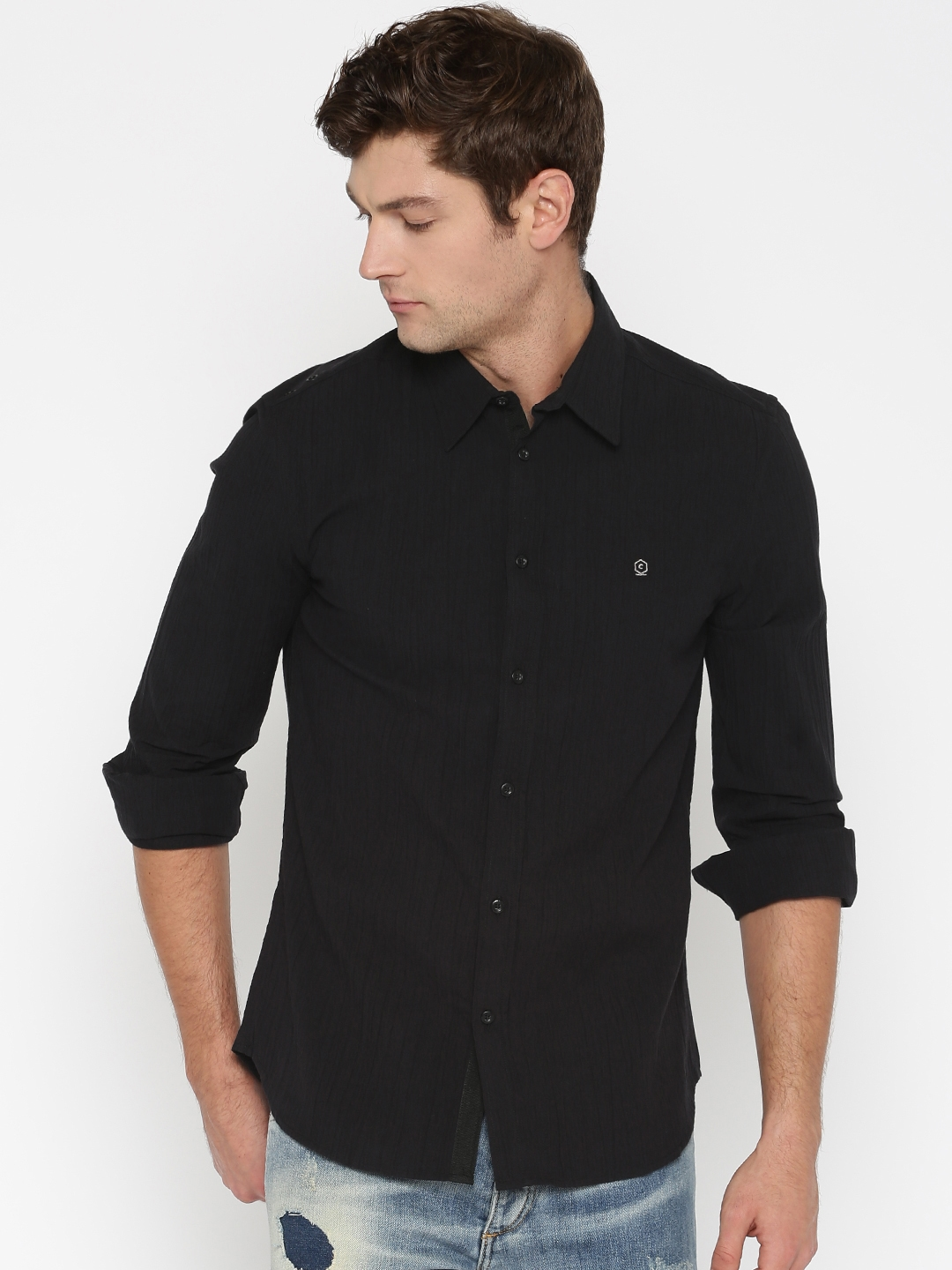 f598942dd98508 Buy Core By Jack & Jones Black Slim Fit Casual Shirt - Shirts for ...