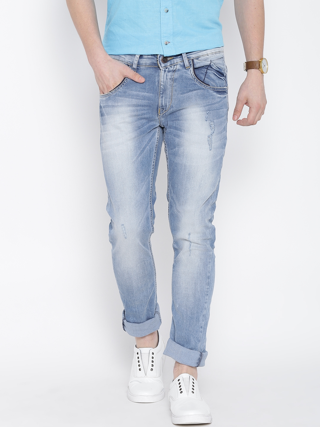 52f1cf7d1d54 SPYKAR Blue Washed Rover Fit Stretchable Jeans