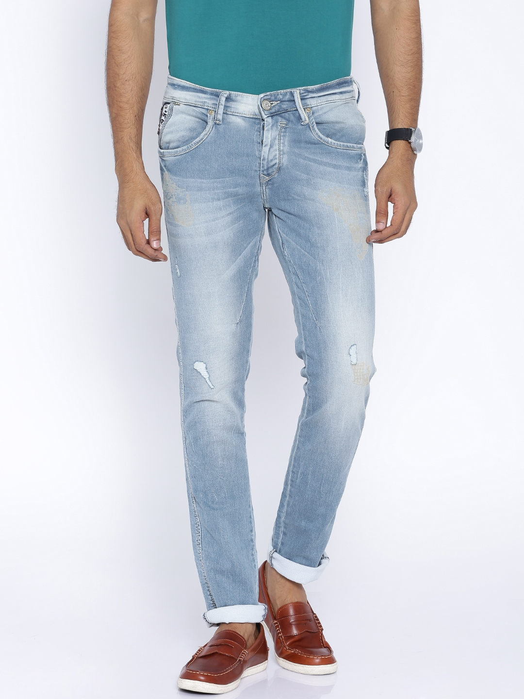 SPYKAR Light Blue Washed Low Rise Skinny Fit Stretchable Jeans
