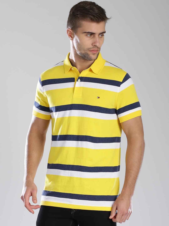 dac70664 Buy Tommy Hilfiger Yellow Striped Polo T Shirt - Tshirts for Men ...