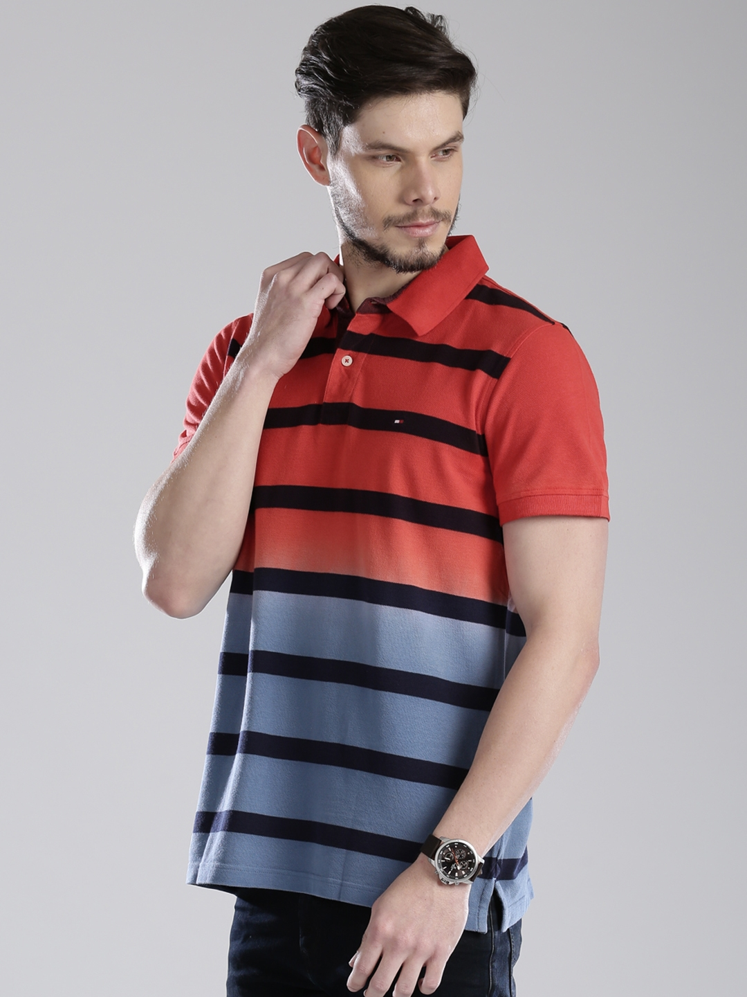 16a31e1014e Buy Tommy Hilfiger Red & Blue Striped Colourblock Polo T Shirt ...