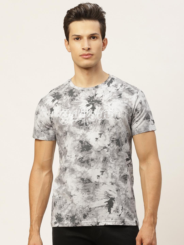 VEIRDO Men Pure Cotton Grey Dyed Round Neck T shirt