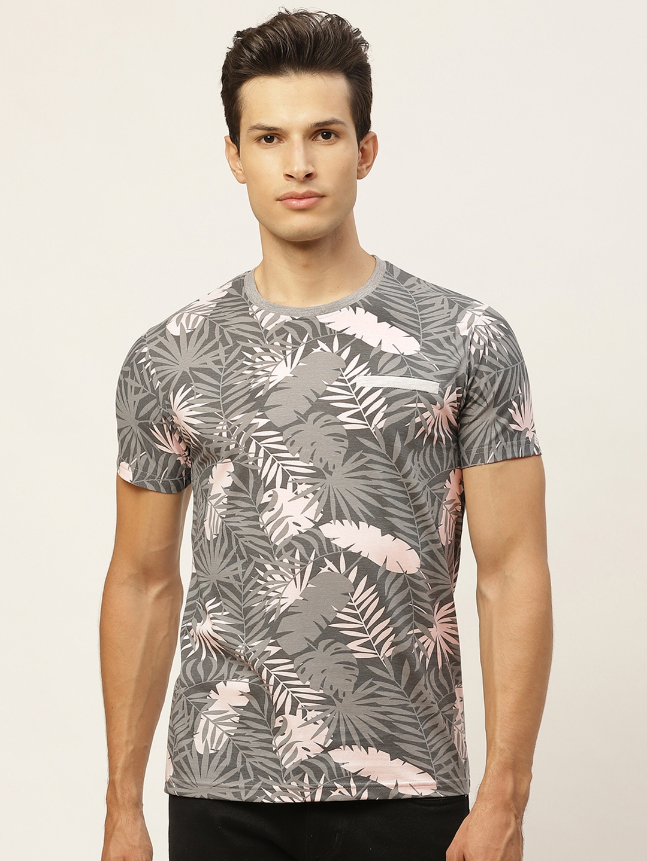 VEIRDO Men Grey Pure Cotton Printed Round Neck T shirt