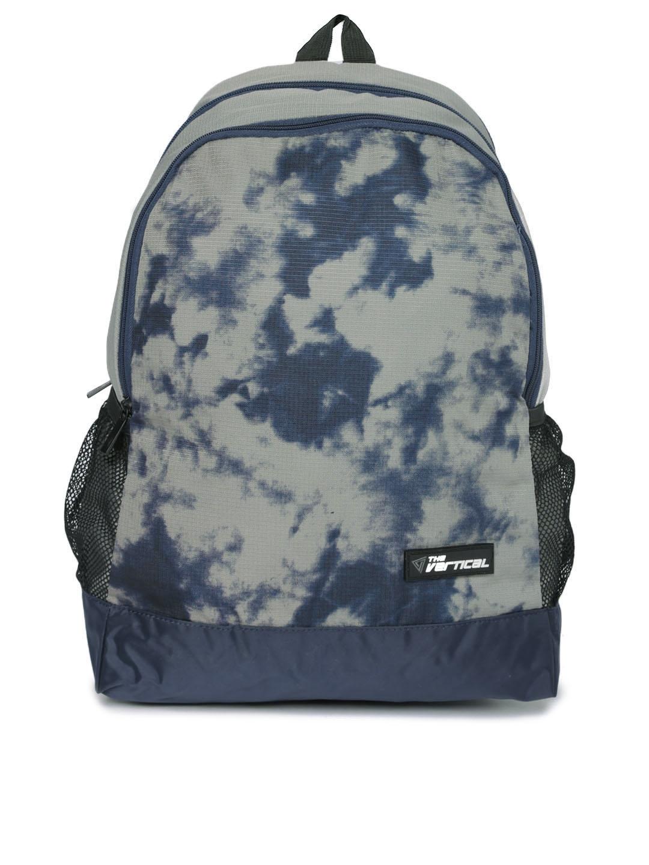 THe VerTicaL Unisex Grey   Navy Printed Laptop Backpack