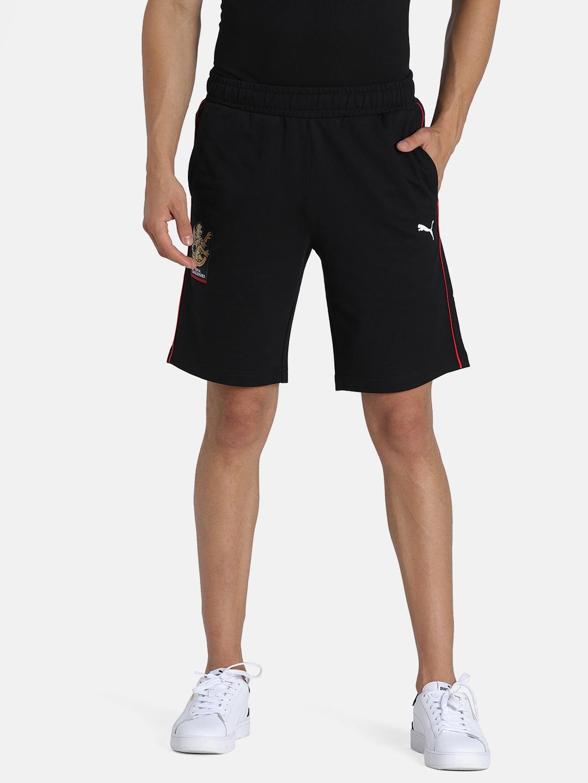 Puma Men Black Solid Regular Fit RCB Fanwear Sports Shorts