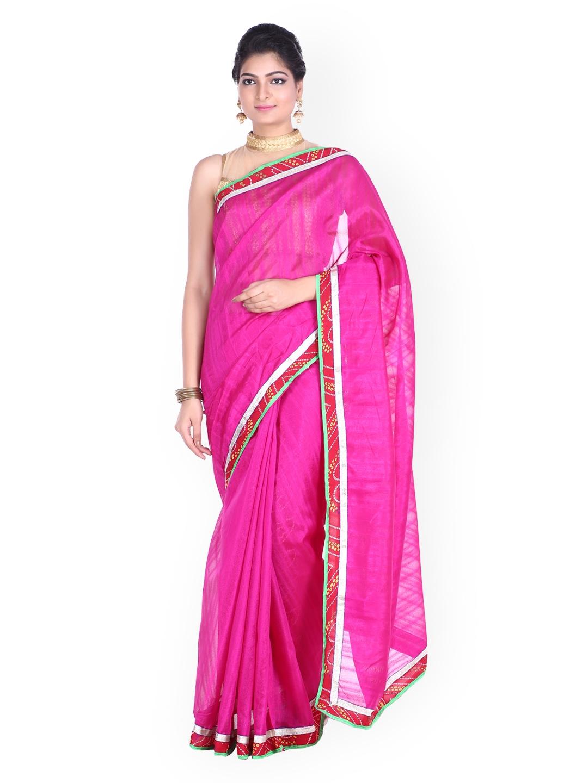 SOUNDARYA Pink Self Striped Bhagalpuri Art Silk Traditional Saree