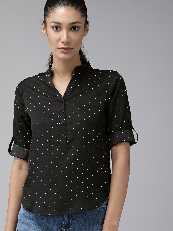 Roadster Women Black   White Polka Dot Print Roll Up Sleeves Shirt Style Top