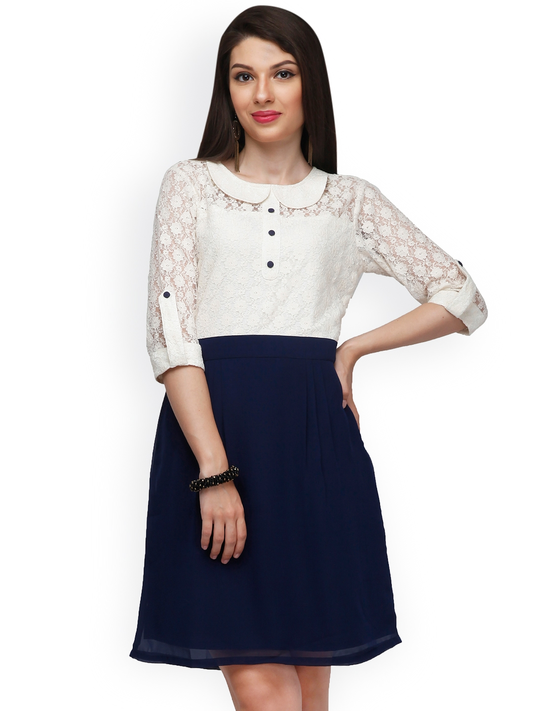 3545f9aef0b Buy Eavan White   Navy Lace A Line Dress - Dresses for Women 1402115 ...