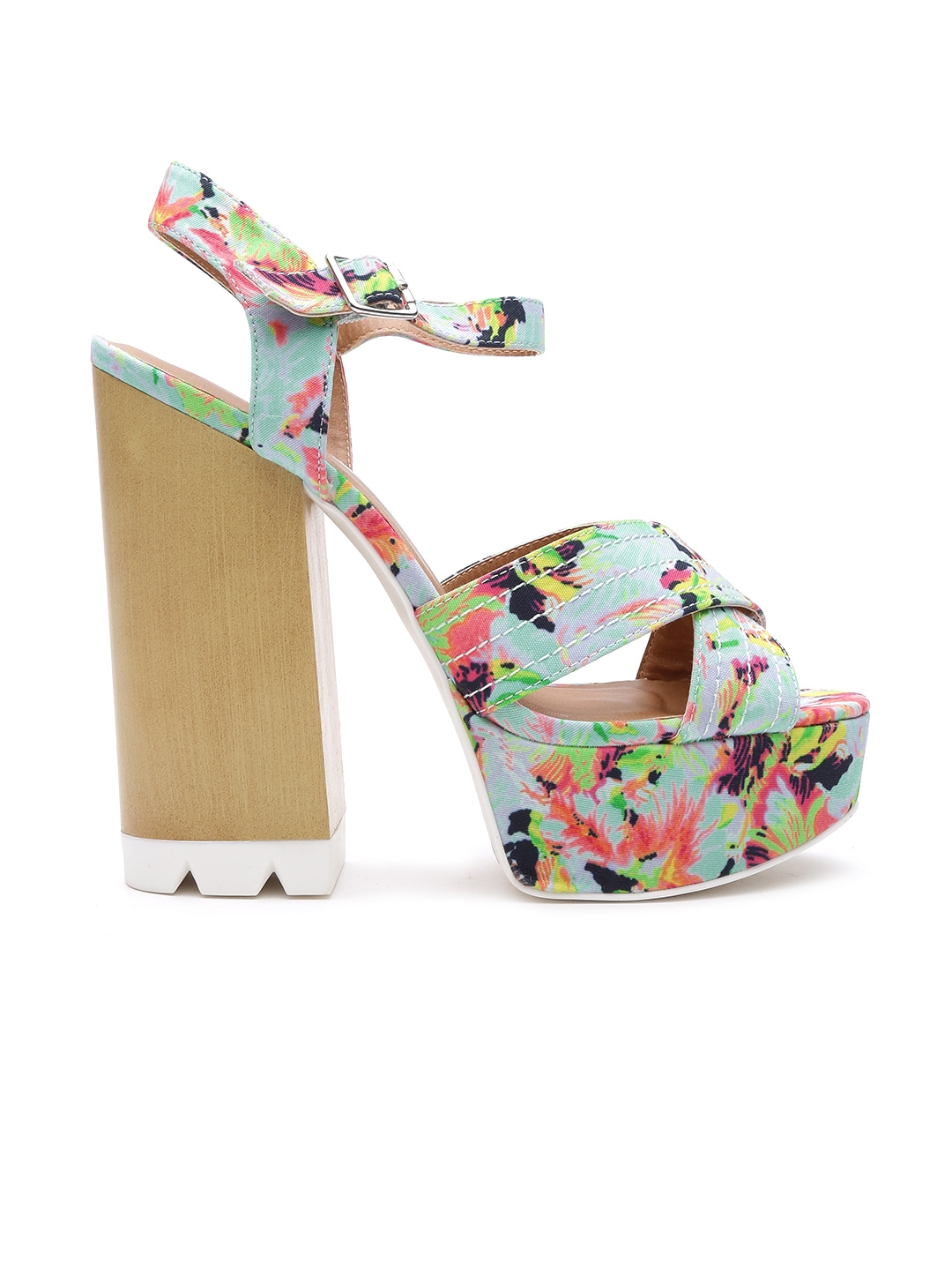 4e33fb38e0 Buy Qupid Women Multicoloured Floral Print Platforms - Heels for Women  1404316 | Myntra