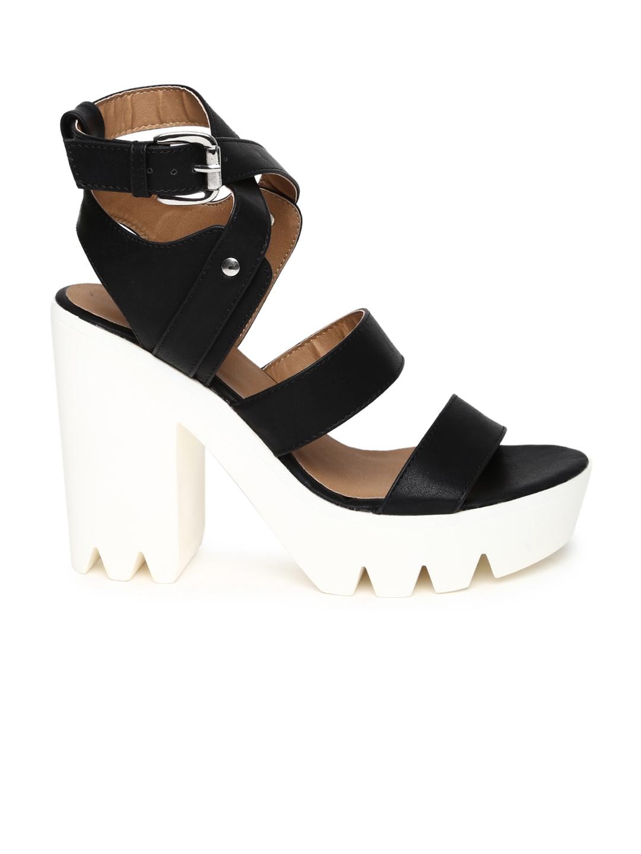cfee7291f4bb5 Buy Qupid Women Black Solid Platforms - Heels for Women 1404318 | Myntra