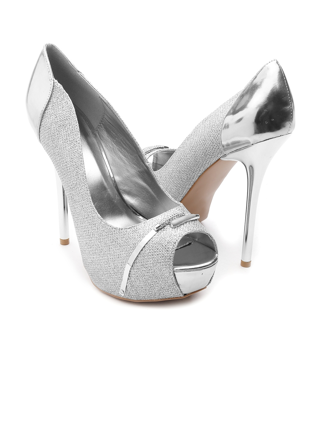 f4879b9353a Buy Qupid Women Silver Toned Shimmer Platforms - Heels for Women ...