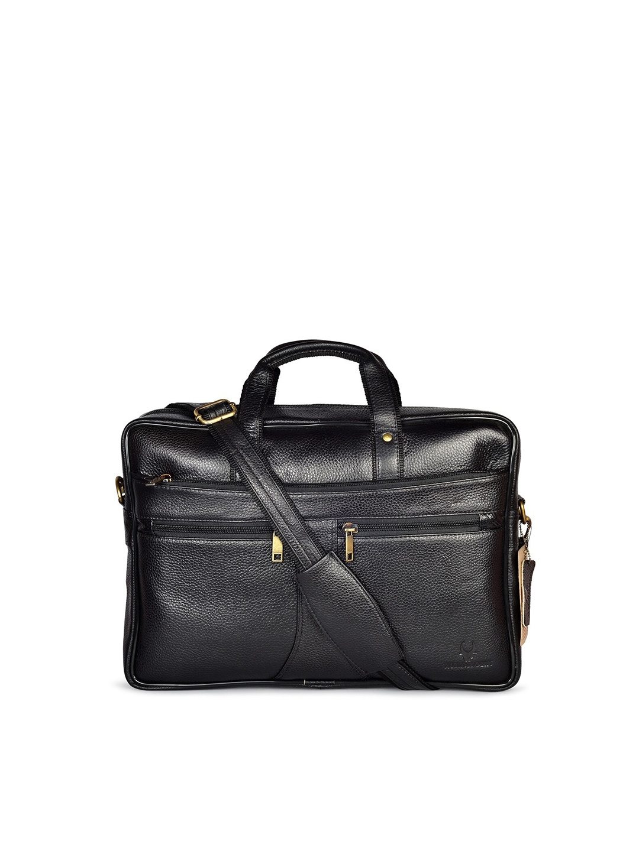 WildHorn Men Black Textured Genuine Leather 15 Inch Laptop Bag