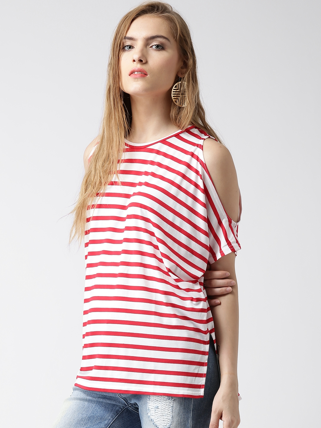 cefc361a831963 Buy New Look Red   White Striped Cold Shoulder Top - Tops for Women ...